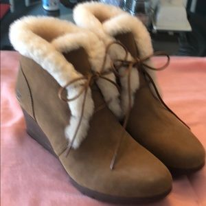 Tan and ivory UGG Wedge Boots